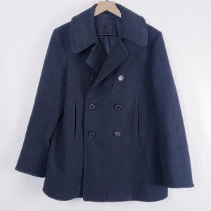 A.P.C. Marled Charcoal Double Breasted Wool Coat M